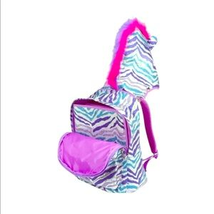 "Justice Sequin ""Zebra"" Hooded Backpack"